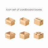 Insieme dell'icona delle scatole di cartone Fotografia Stock