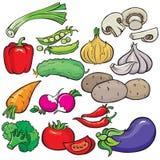 Insieme dell'icona delle verdure Fotografie Stock