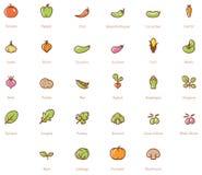 Insieme dell'icona delle verdure Fotografie Stock Libere da Diritti