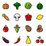 Insieme dell'icona delle verdure e della frutta Fotografia Stock Libera da Diritti