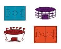 Insieme dell'icona dello stadio di calcio, stile del profilo di colore Immagine Stock