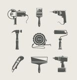 Insieme dell'icona dello strumento della costruzione Fotografia Stock