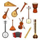 Insieme dell'icona dello strumento di musica classica ed etnica royalty illustrazione gratis