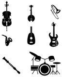 Insieme dell'icona dello strumento musicale Fotografia Stock