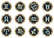 Insieme dell'icona dello zodiaco dell'oro Fotografia Stock Libera da Diritti