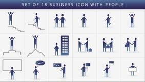 Insieme dell'icona di affari della comunicazione umana. Fotografia Stock Libera da Diritti
