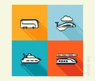Insieme dell'icona di affari Trasporto, viaggiante, turismo Progettazione piana Fotografie Stock Libere da Diritti
