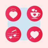 Insieme dell'icona di amore Logo di amore nello stile d'annata Valentino con Lacy Heart bianco su fondo di legno con copyspace Immagini Stock Libere da Diritti