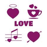 Insieme dell'icona di amore Logo di amore nello stile d'annata concetto di amore in vinta Fotografia Stock