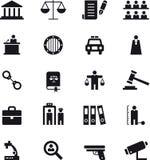 Insieme dell'icona di applicazione di legge e della giustizia Fotografia Stock