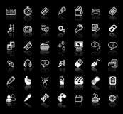 Insieme dell'icona di applicazione di media del Internet Fotografie Stock