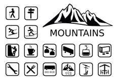 Insieme dell'icona di attività delle montagne Immagine Stock Libera da Diritti