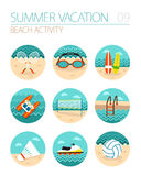 Insieme dell'icona di attività della spiaggia Estate vacanza Fotografia Stock Libera da Diritti