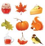 Insieme dell'icona di autunno Immagine Stock