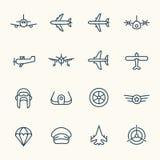 Insieme dell'icona di aviazione Fotografia Stock