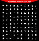 Insieme dell'icona di ballo di flamenco Immagini Stock