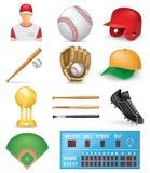 Insieme dell'icona di baseball Fotografie Stock Libere da Diritti