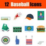 Insieme dell'icona di baseball Fotografie Stock