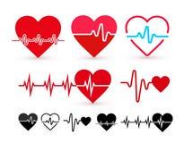 Insieme dell'icona di battito cardiaco, monitor di salute, sanità Progettazione piana Illustrazione di vettore Isolato su priorit Immagini Stock Libere da Diritti