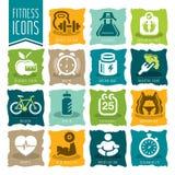 Insieme dell'icona di benessere e di forma fisica royalty illustrazione gratis