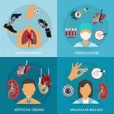 Insieme dell'icona di biotecnologia illustrazione di stock
