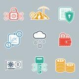 Insieme dell'icona di Bitcoin Illustrazione di vettore Fotografie Stock