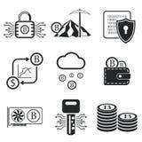 Insieme dell'icona di Bitcoin Illustrazione di vettore Fotografia Stock