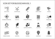 Insieme dell'icona di Blockchain illustrazione vettoriale