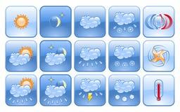 Insieme dell'icona di bollettino meteorologico Immagini Stock