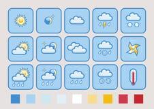 Insieme dell'icona di bollettino meteorologico illustrazione vettoriale