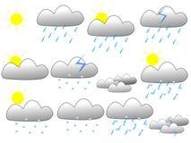 Insieme dell'icona di bollettino meteorologico fotografie stock libere da diritti