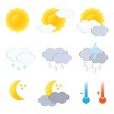 Insieme dell'icona di bollettino meteorologico. Immagine Stock