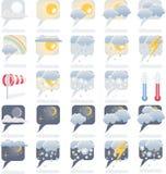 Insieme dell'icona di bollettino meteorologico Immagine Stock