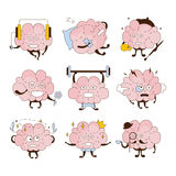Insieme dell'icona di Brain Different Activities And Emoticons illustrazione di stock