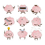 Insieme dell'icona di Brain Different Activities And Emotions illustrazione di stock