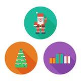 Insieme dell'icona di Buon Natale Arte piana del pixel Fotografia Stock
