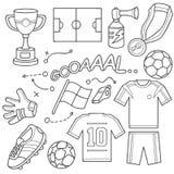 Insieme dell'icona di calcio Fotografia Stock