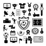 Insieme dell'icona di calcio Immagine Stock