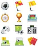 Insieme dell'icona di calcio di vettore Fotografie Stock
