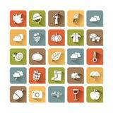 Insieme dell'icona di colore di autunno Immagine Stock