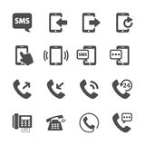 Insieme dell'icona di comunicazione del dispositivo del telefono, vettore eps10 Immagini Stock Libere da Diritti