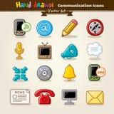 Insieme dell'icona di comunicazione di tiraggio della mano di vettore Fotografia Stock Libera da Diritti