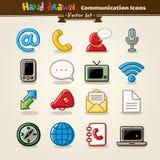 Insieme dell'icona di comunicazione di tiraggio della mano di vettore Fotografie Stock
