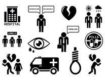 Insieme dell'icona di concetto di disturbi psichici Fotografie Stock