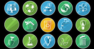 Insieme dell'icona di concetto di ecologia Alpha Channel royalty illustrazione gratis