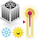 Insieme dell'icona di Conditiong dell'aria di estate Immagini Stock Libere da Diritti
