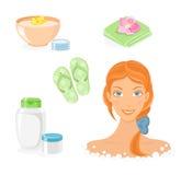 Insieme dell'icona di cura del corpo e del bagno Immagini Stock Libere da Diritti