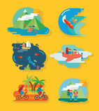 Insieme dell'icona di divertimento e di viaggio royalty illustrazione gratis