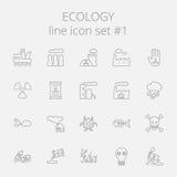 Insieme dell'icona di ecologia illustrazione di stock
