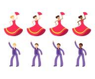 Insieme dell'icona di emoji del ballerino illustrazione vettoriale